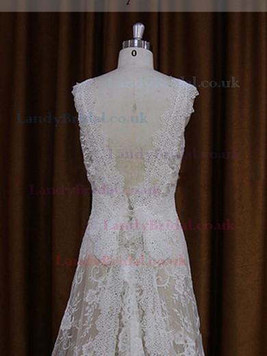 Affordable V-neck Ivory Lace Elastic Woven Satin Beading Sweep Train Wedding Dresses #LDB00021825