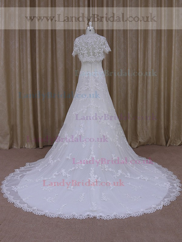 White Strapless Lace Tulle with Appliques Lace A-line Wholesale Wedding Dress #LDB00021827