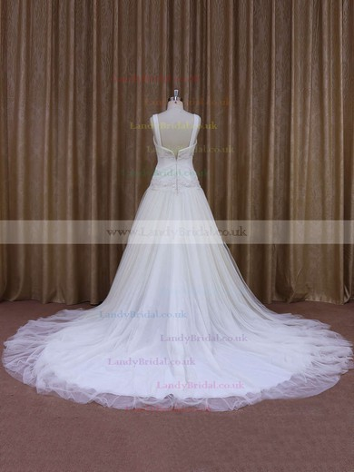 Chapel Train Ivory Tulle with Appliques Lace Perfect V-neck Wedding Dress #LDB00021831
