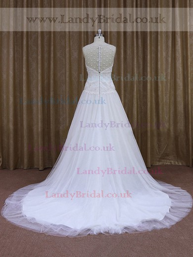 White Discounted Scoop Neck Tulle Appliques Lace Chapel Train Wedding Dresses #LDB00021832