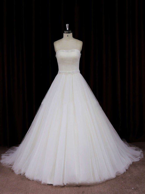 Ivory Chapel Train Tulle with Beading Strapless Fashion Wedding Dress #LDB00021833