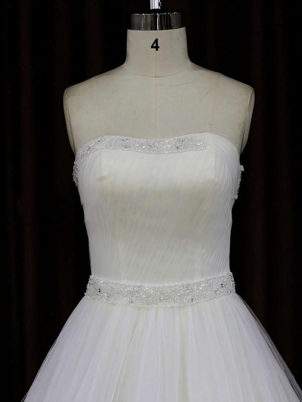 Ivory Chapel Train Tulle with Beading Strapless Fashion Wedding Dress #LDB00021833