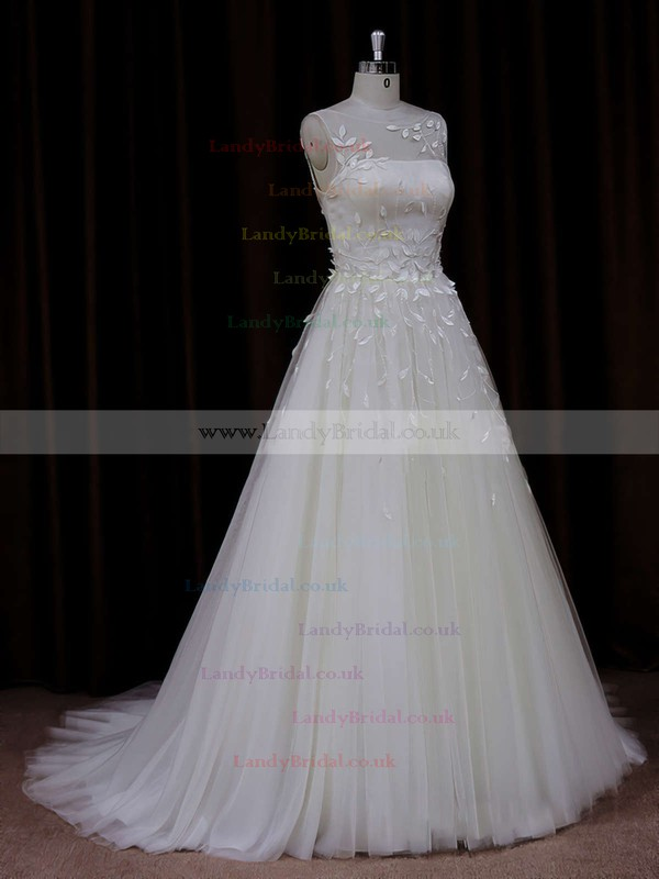 Princess Ivory Different Tulle Appliques Lace Scoop Neck Wedding Dresses #LDB00021834