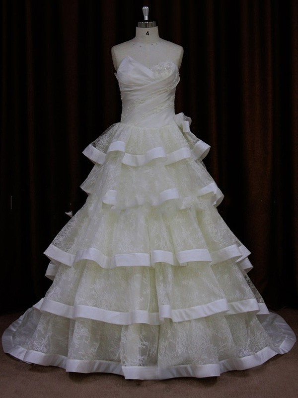 Ball Gown Exclusive Ivory Lace Satin Beading Strapless Wedding Dresses #LDB00021839