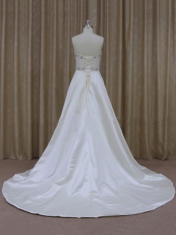 For Less Sweetheart Satin Beading Ivory A-line Wedding Dresses #LDB00021842