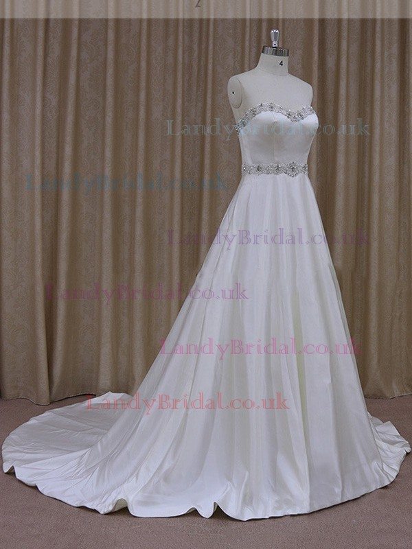 For Less Sweetheart Satin Beading Ivory A-line Wedding Dresses #LDB00021842