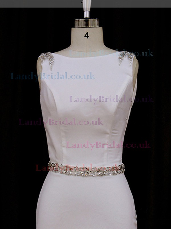 Sheath/Column Ivory Elastic Woven Satin Beading Scoop Neck Wedding Dress #LDB00021843
