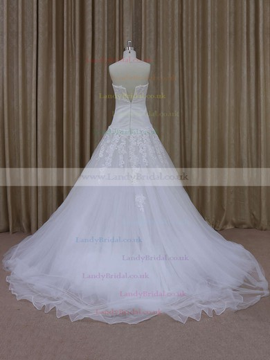 Ivory Court Train Tulle with Appliques Lace Popular Sweetheart Wedding Dresses #LDB00021844
