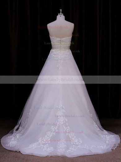 Princess Ivory Organza with Appliques Lace Sweetheart Gorgeous Wedding Dresses #LDB00021848