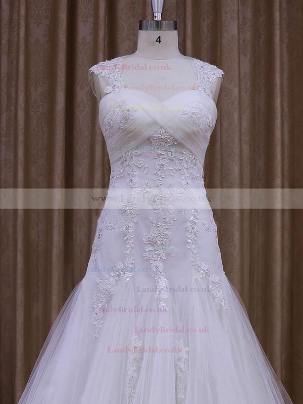 White Coolest Sweetheart Tulle with Appliques Lace Court Train Wedding Dress #LDB00021857
