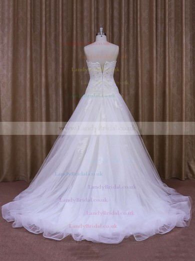 A-line Tulle with Appliques Lace Ivory Nice Court Train Wedding Dresses #LDB00021859