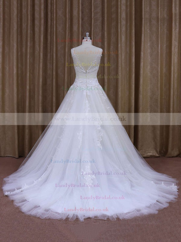 Great Chapel Train Tulle Appliques Lace White V-neck Wedding Dress #LDB00021860