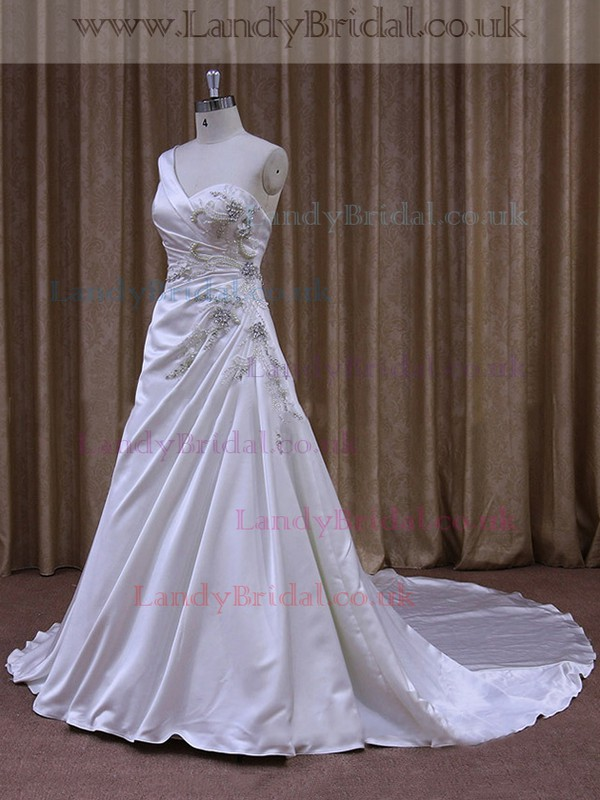 White One Shoulder Cheap Satin Beading Chapel Train Wedding Dresses #LDB00021862
