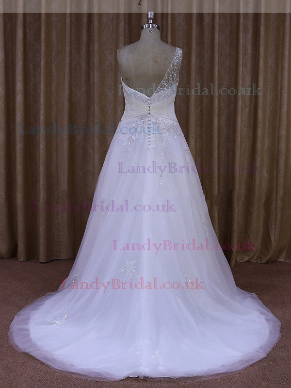 Amazing Court Train Tulle Beading White One Shoulder Wedding Dress #LDB00021863
