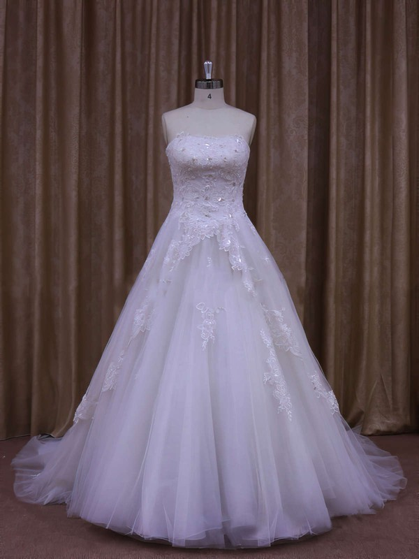 Strapless Tulle Appliques Lace White Latest A-line Wedding Dresses #LDB00021864