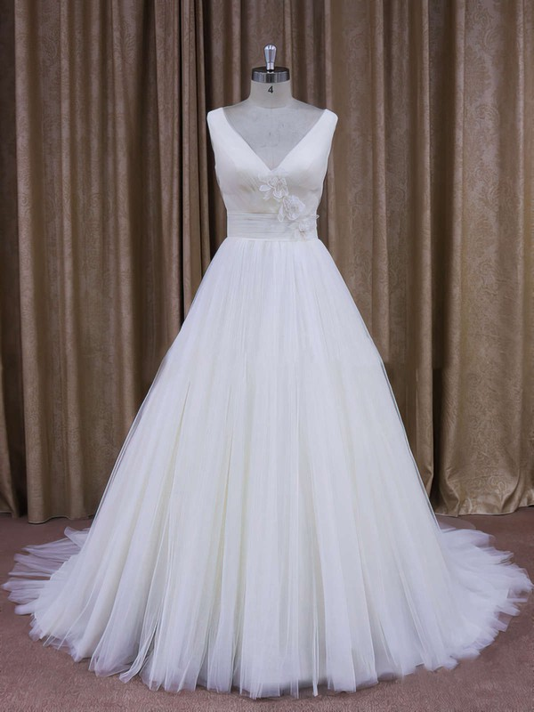 Tulle with Flower(s) Court Train Wholesale Ivory V-neck Wedding Dresses #LDB00021868