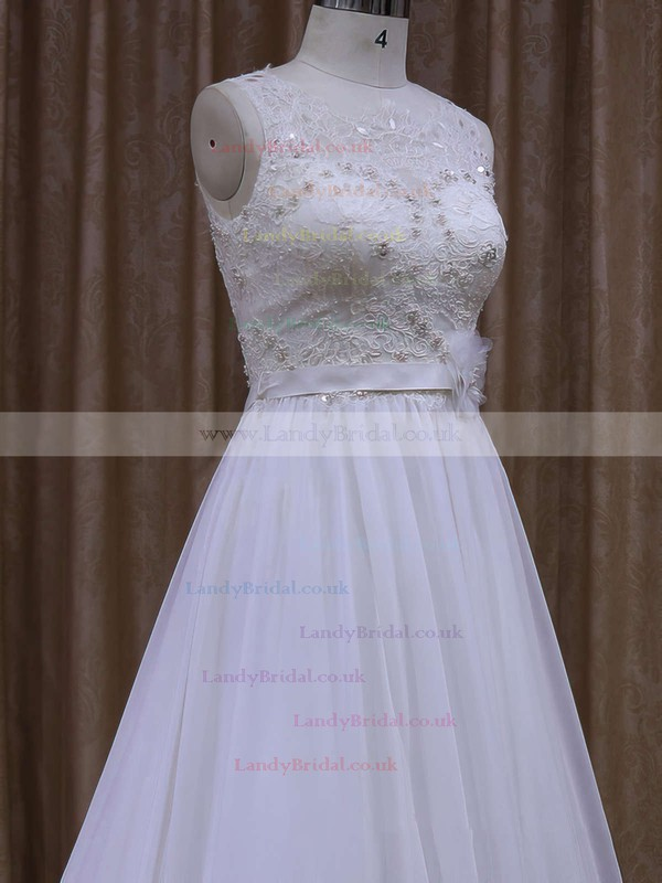 Scoop Neck Chiffon with Sashes/Ribbons Chapel Train White Wedding Dresses #LDB00021871