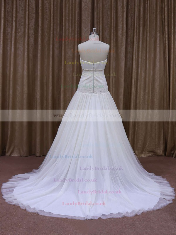 Promotion Sweetheart Tulle Appliques Lace Court Train Ivory Wedding Dresses #LDB00021873
