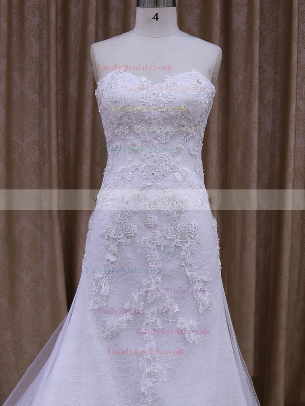 Trumpet/Mermaid White Tulle Appliques Lace Watteau Train Wedding Dresses #LDB00021874