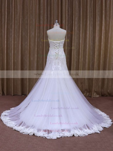 Trumpet/Mermaid White Tulle Appliques Lace Watteau Train Wedding Dresses #LDB00021874