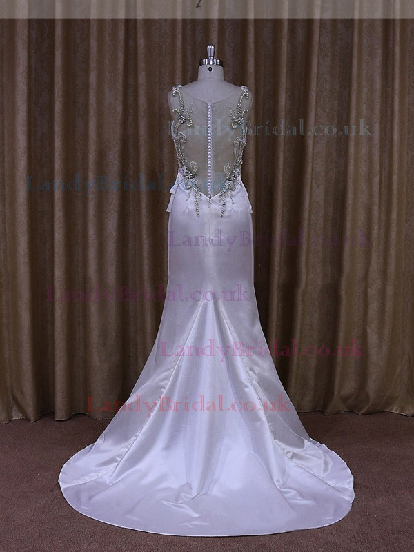 White Scoop Neck Elastic Woven Satin Beading Sheath/Column Wedding Dresses #LDB00021875