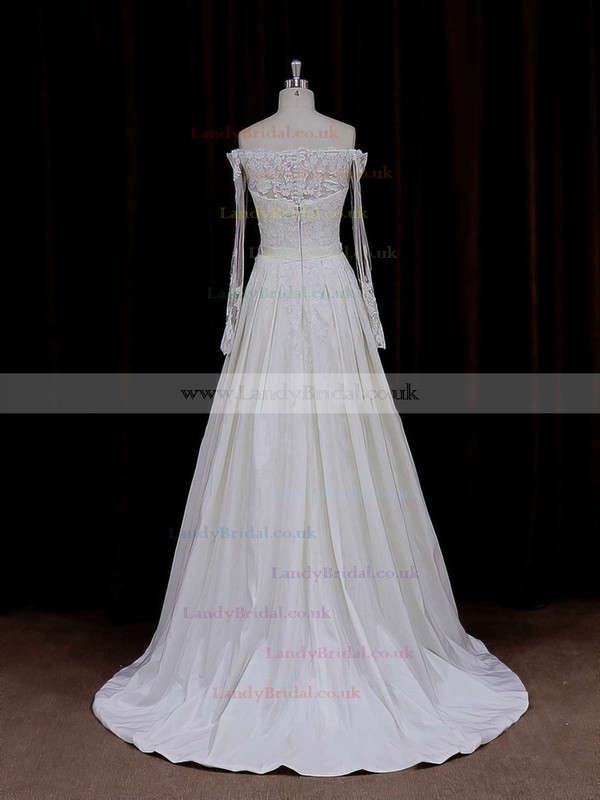 Expensive Taffeta Appliques Lace Ivory Off-the-shoulder Long Sleeve Wedding Dresses #LDB00021883