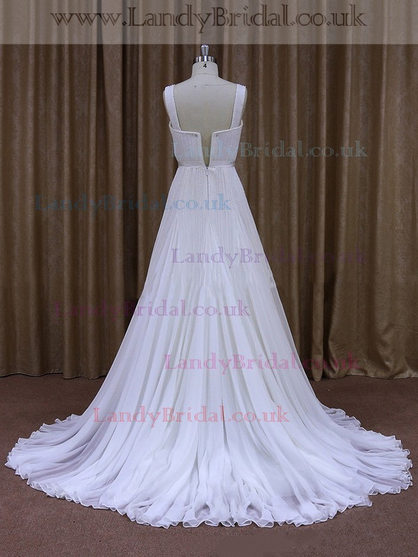 Sweetheart Ivory Chiffon Beading Court Train Fashion Wedding Dresses #LDB00021884