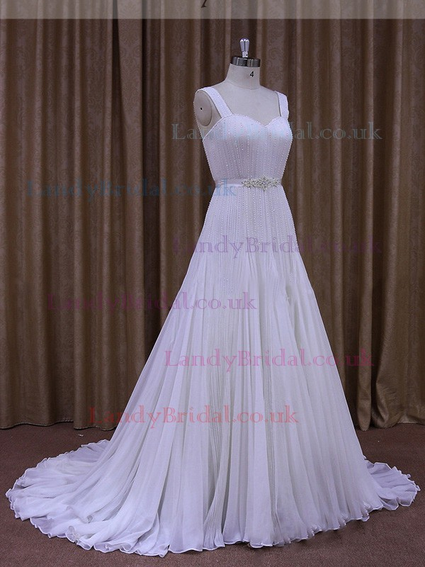 Sweetheart Ivory Chiffon Beading Court Train Fashion Wedding Dresses #LDB00021884