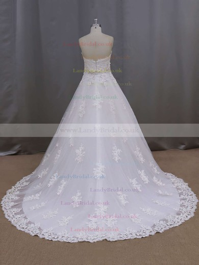 Ivory Sweetheart Tulle Court Train Appliques Lace Hot Wedding Dresses #LDB00021886