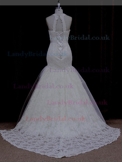 Top Trumpet/Mermaid Ivory Tulle Appliques Lace Halter Wedding Dresses #LDB00021910