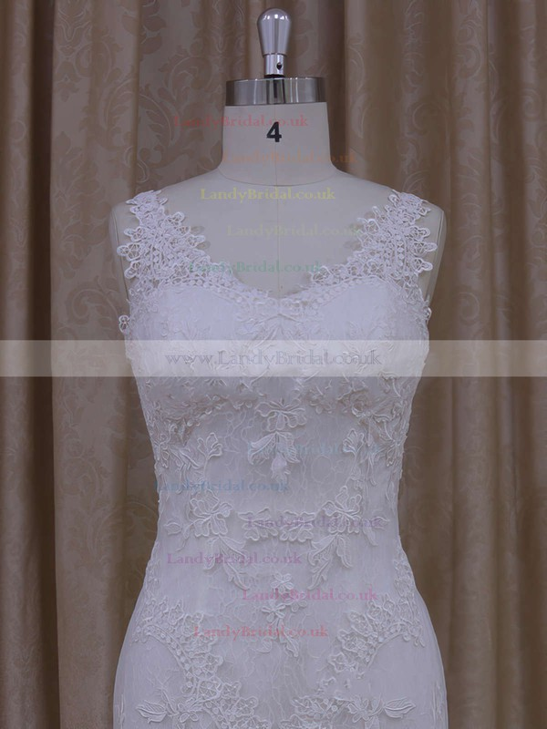 V-neck Tulle Appliques Lace Ivory Trumpet/Mermaid Newest Wedding Dresses #LDB00021912
