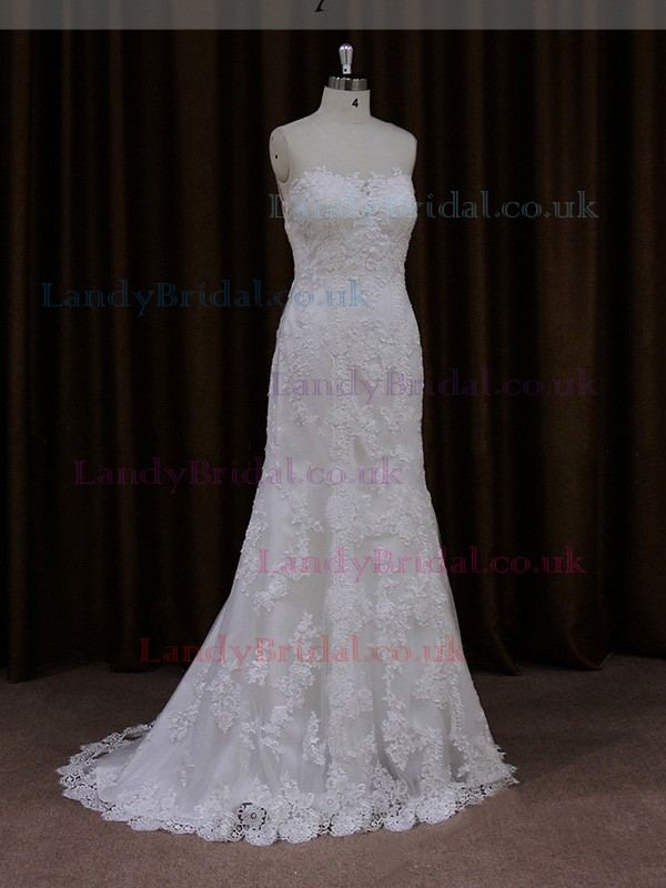 Scoop Neck Ivory Tulle Appliques Lace Popular Trumpet/Mermaid Wedding Dresses #LDB00021913