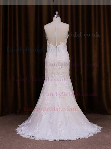 Scoop Neck Ivory Tulle Appliques Lace Popular Trumpet/Mermaid Wedding Dresses #LDB00021913