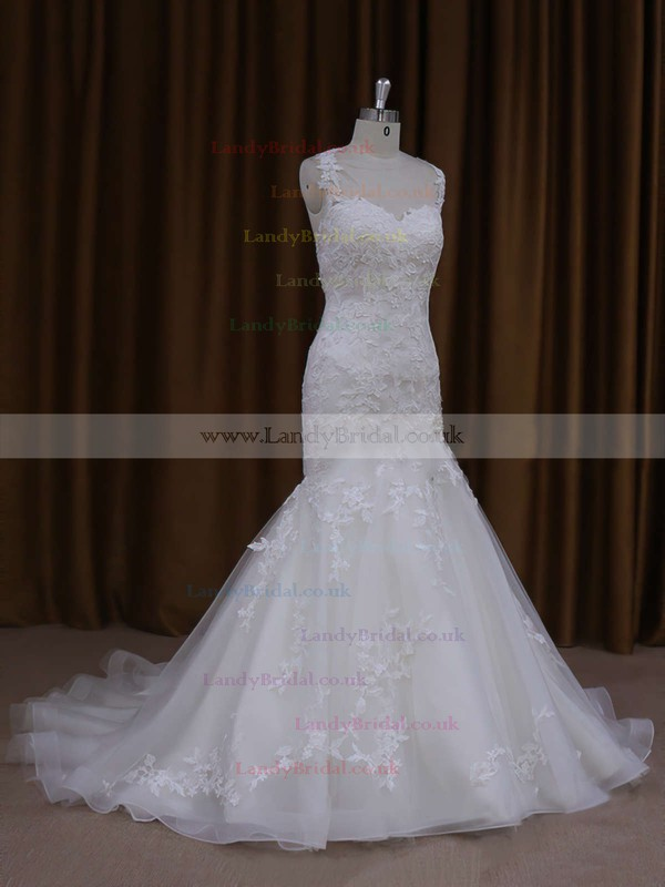 Trumpet/Mermaid Satin Tulle Appliques Lace Court Train Ivory Wedding Dresses #LDB00021920