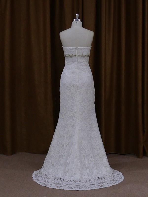 Discounted Sheath/Column Sweetheart Beading Ivory Lace Wedding Dresses #LDB00021922