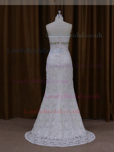 Discounted Sheath/Column Sweetheart Beading Ivory Lace Wedding Dresses #LDB00021922