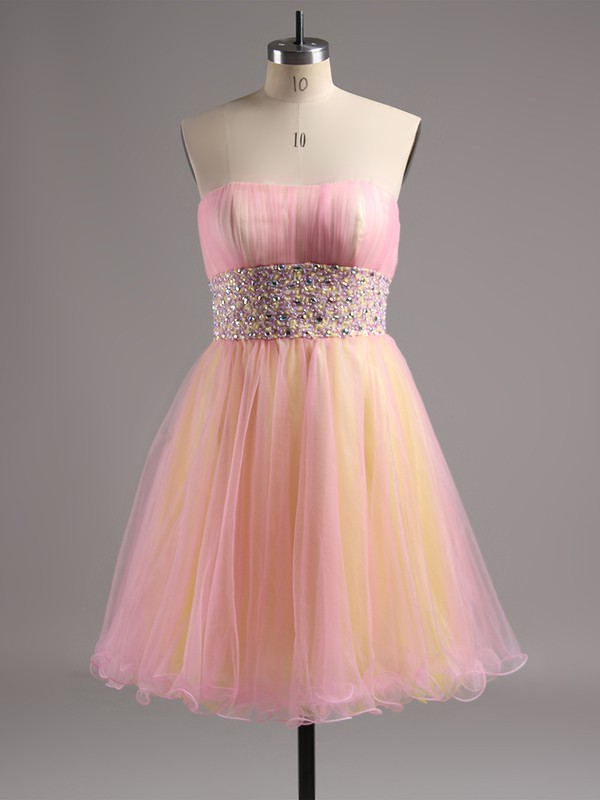 Gorgeous Short/Mini Purple Tulle with Beading Strapless Prom Dress #LDB02014572