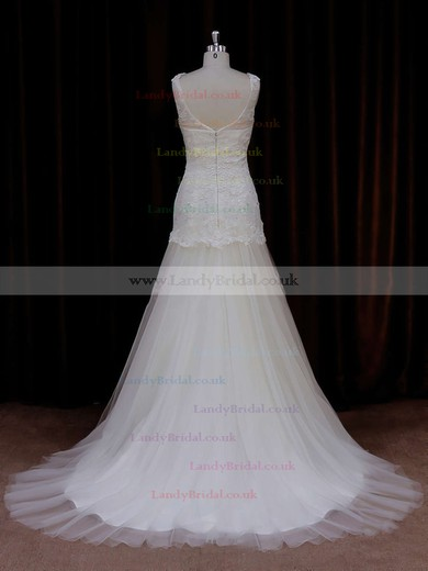 Ivory Scoop Neck Tulle Appliques Lace Trumpet/Mermaid Wedding Dresses #LDB00021924