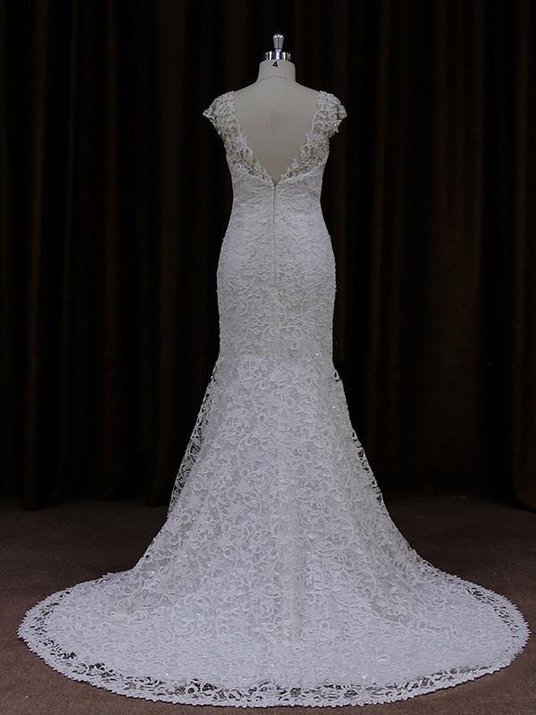 Boutique Scoop Neck Cap Straps Ivory Lace Trumpet/Mermaid Wedding Dresses #LDB00021925