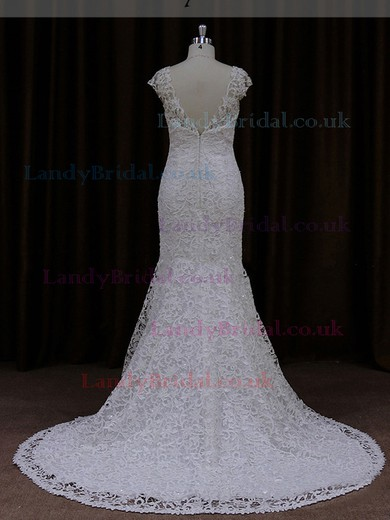Boutique Scoop Neck Cap Straps Ivory Lace Trumpet/Mermaid Wedding Dresses #LDB00021925