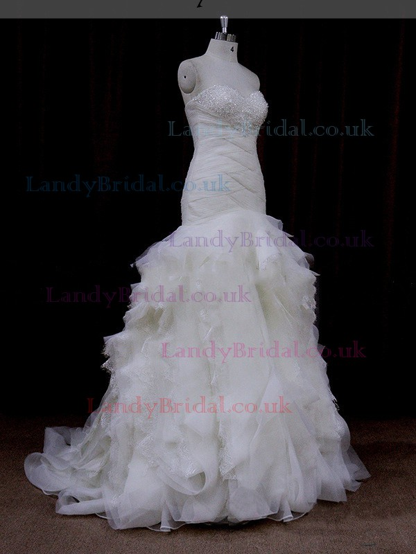 Trumpet/Mermaid Sweetheart Lace Tulle with Beading Ivory Wedding Dresses #LDB00021928
