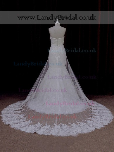 Ivory Tulle Appliques Lace Trumpet/Mermaid Watteau Train Wedding Dresses #LDB00021929