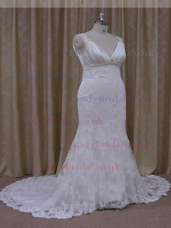 Best V-neck White Lace Silk-like Satin Beading Trumpet/Mermaid Wedding Dresses #LDB00021931