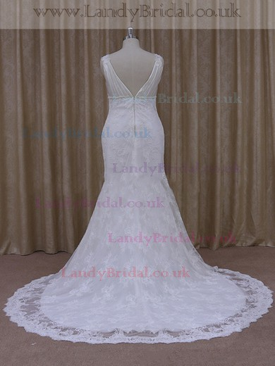 Best V-neck White Lace Silk-like Satin Beading Trumpet/Mermaid Wedding Dresses #LDB00021931