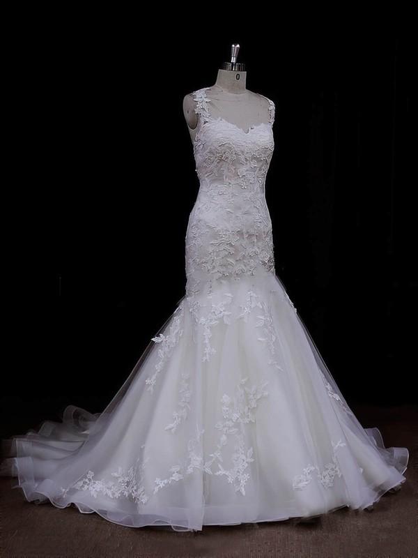 Sweetheart Trumpet/Mermaid Satin Tulle Appliques Lace Ivory Wedding Dresses #LDB00021935