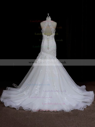 Sweetheart Trumpet/Mermaid Satin Tulle Appliques Lace Ivory Wedding Dresses #LDB00021935