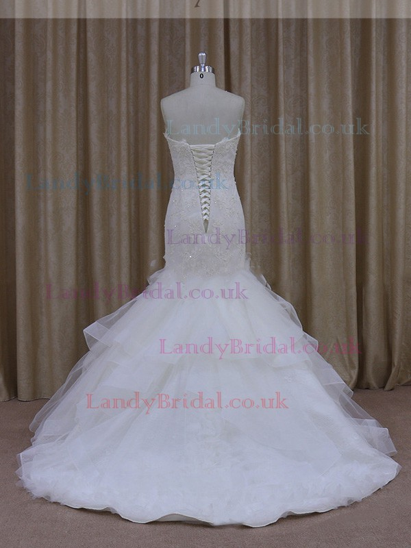 Trumpet/Mermaid White Satin Tulle Appliques Lace Sweep Train Wedding Dresses #LDB00021937
