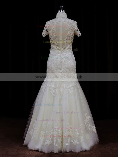 High Neck Ivory Tulle Appliques Lace Nice Trumpet/Mermaid Wedding Dresses #LDB00021939