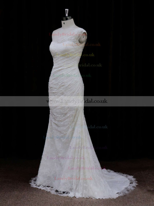 Amazing Ivory Lace Sequins Trumpet/Mermaid One Shoulder Wedding Dresses #LDB00021940