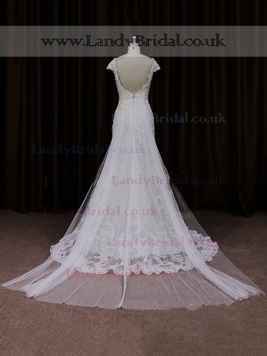 Off-the-shoulder Tulle Appliques Lace Ivory Trumpet/Mermaid Wedding Dresses #LDB00021941